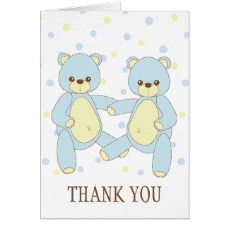 Obrigado dos gêmeos do urso de ursinho você cartão de nota