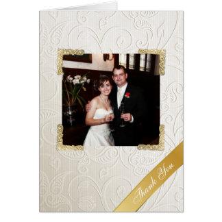 Obrigado elegante da foto do casamento tema cartão de nota