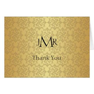 Obrigado elegante do aniversário do ouro 50th você cartão de nota