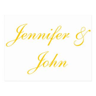 Obrigado elegante do casamento do roteiro do ouro  cartão postal