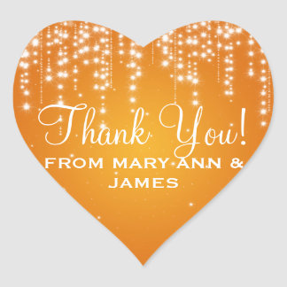 Obrigado elegante você noite brilha a laranja adesivo coração