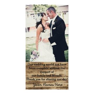 Obrigado feito sob encomenda da foto do casamento cartão com foto