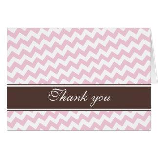 Obrigado feito sob encomenda da listra cor-de-rosa cartão