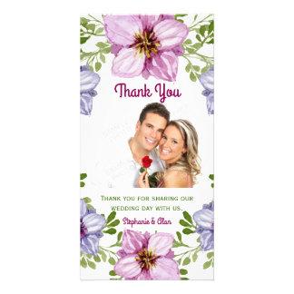 Obrigado floral cor-de-rosa roxo do casamento da cartão com foto