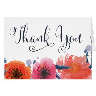 Obrigado floral da aguarela do marinho você cartão