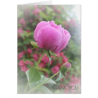 Obrigado floral da flor das peônias cor-de-rosa da cartão de nota