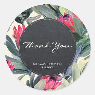 obrigado floral da palma tropical você etiqueta