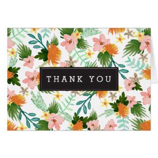 Obrigado floral do litoral você cartão de nota