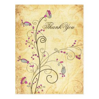 obrigado floral fúcsia do casamento do vintage cartão postal