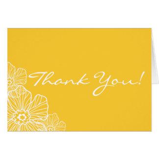 Obrigado floral laçado você cartão de nota