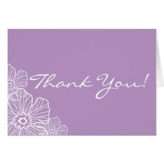Obrigado floral laçado você malva do cartão de
