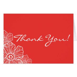 Obrigado floral laçado você vermelho do cartão de