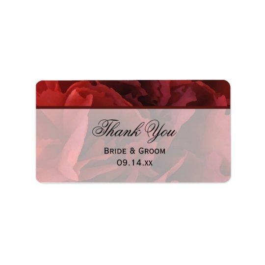 Obrigado floral vermelho do casamento você etiqueta de endereço
