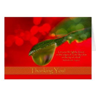 Obrigado - gota de orvalho - citações cartão