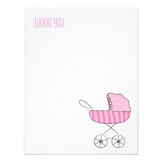 Obrigado liso cor-de-rosa do carrinho de criança d convites