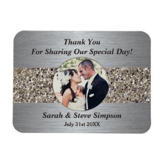 Obrigado magnético da fotografia do casamento você foto com ímã retangular