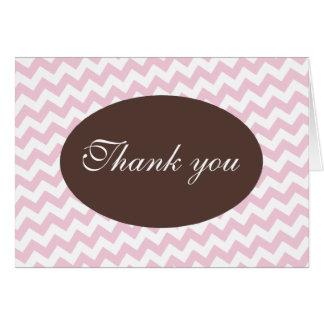 Obrigado moderno cor-de-rosa de Chevron e de Brown Cartoes