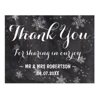 Obrigado moderno do quadro dos flocos de neve do cartão postal