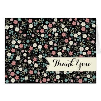 Obrigado moderno irrisório floral do vintage você cartão de nota