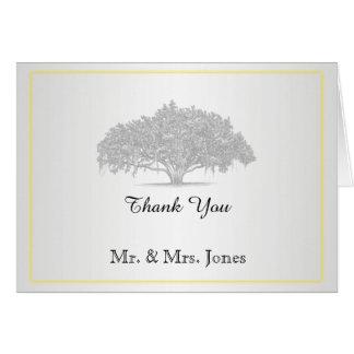 Obrigado Mossy de prata cinzento amarelo do Cartão De Nota