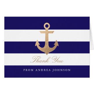 Obrigado náutico do marinho você cartão de nota