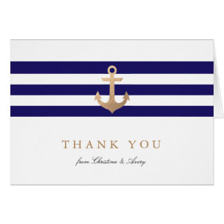 Obrigado náutico do marinho você cartões