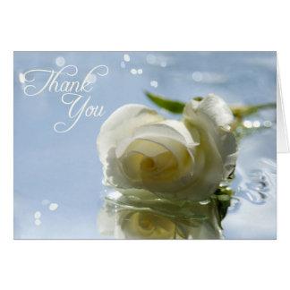 obrigado o rosa branco cartão comemorativo