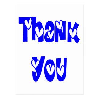 Obrigado os corações dos azuis cobaltos e do cartão postal