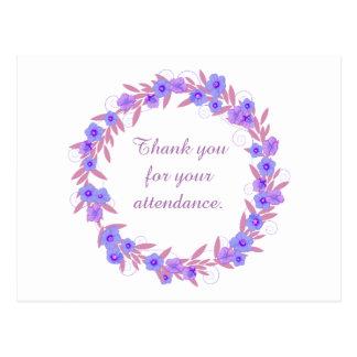 Obrigado para seu floral roxo do comparecimento cartão postal