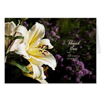 Obrigado para sua simpatia, com lírio branco cartão comemorativo