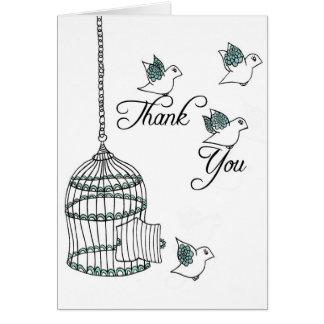 Obrigado pássaros cartao