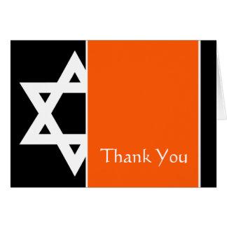 Obrigado preto alaranjado de Mitzvah do bar da Cartão De Nota