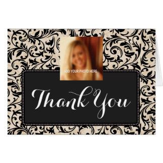 Obrigado preto da graduação do damasco do cartão comemorativo