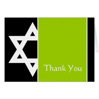 Obrigado preto de Mitzvah do bar da estrela de Cartão De Nota