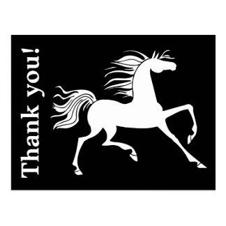 Obrigado preto e branco da silhueta do cavalo você cartão postal