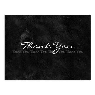 Obrigado quadro-negro preto e branco simples cartão postal