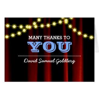 Obrigado que azul de Mitzvah do bar das luzes do Cartão