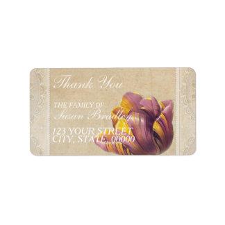 Obrigado que da família da tulipa do vintage você etiqueta de endereço