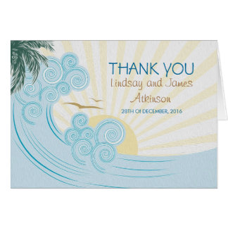 Obrigado que do casamento de praia você cartões