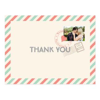 Obrigado que do casamento do correio aéreo do cartão postal