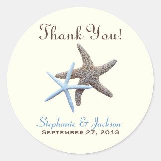 Obrigado redondo do casal da estrela do mar você e adesivos redondos