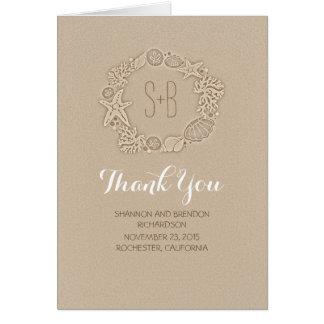 obrigado romântico do casamento das iniciais da cartão de nota