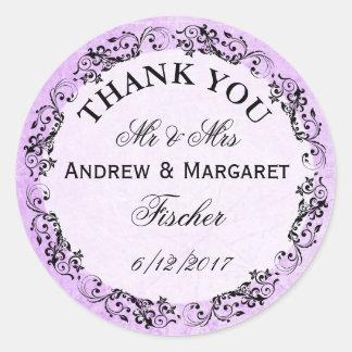Obrigado roxo do casamento você etiquetas