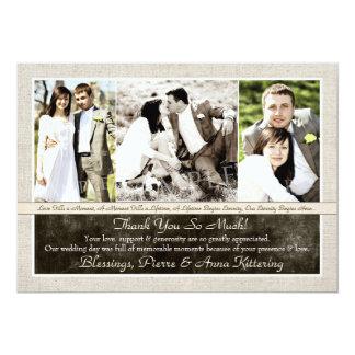 Obrigado rústico da foto do casamento três você convite 12.7 x 17.78cm