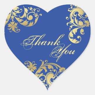 Obrigado selar - casamento floral dos azuis adesivo coração