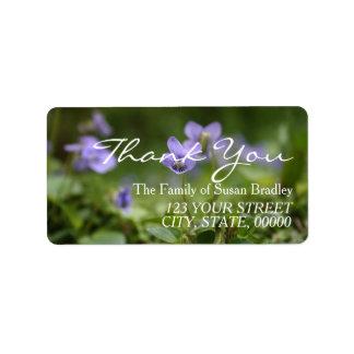 Obrigado selvagem da família de violetas você etiqueta de endereço