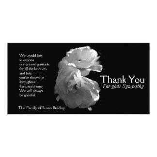 Obrigado selvagem da simpatia dos rosas brancos 3 cartão com foto