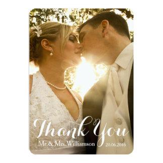 Obrigado simples da foto do casamento da escrita convite 12.7 x 17.78cm