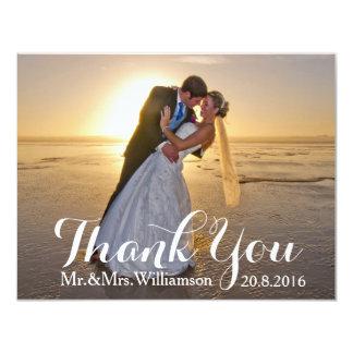 Obrigado simples do casamento da foto você convite 10.79 x 13.97cm