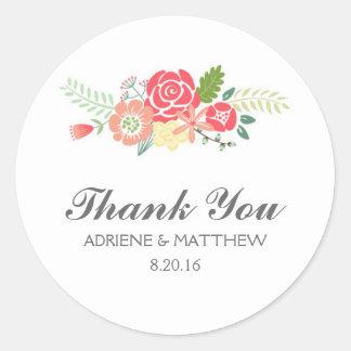 Obrigado simplesmente floral você etiquetas do adesivo